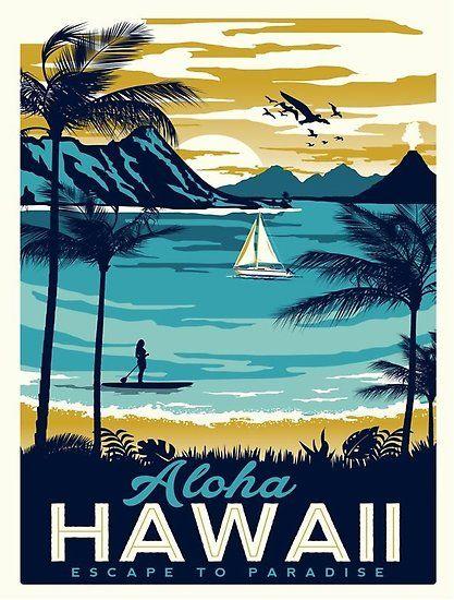 Vintage Poster Hawaii Poster Retro Travel Poster Vintage Travel Posters Vintage Posters