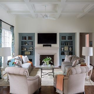 A Bright And Happy Family Room With A Fireplace From Our Fort Worth Georgian Project Fireplace Interiordesign House And Home Magazine Home Living Room Decor