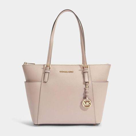 f6174168e7c8 MICHAEL Michael Kors Jet Set Item East-West Top Zip Tote Bag in Soft Pink  Saffia Leather
