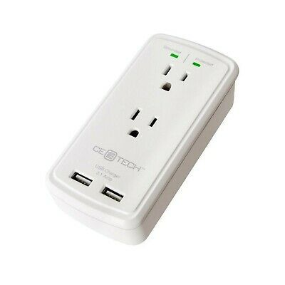 Ebay Link Ad Ce Tech 2 Outlet Usb Wall Tap Surge Protector White With Grounded Protection In 2020 Wall Taps Surge Protector Tablet Charger