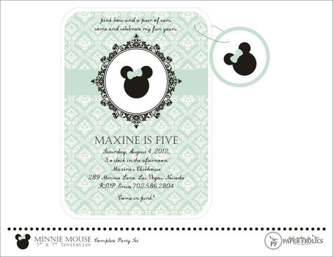 Romantic Vintage Minnie Mouse Printable Invitation. $10.00, via Etsy.