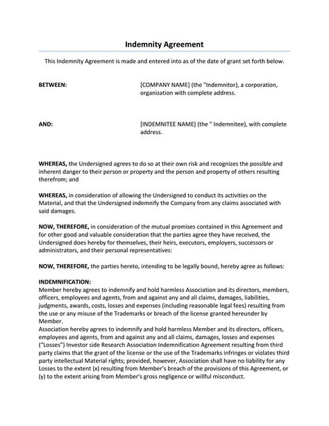 Indemnity Agreement Sample - articles of incorporation template free