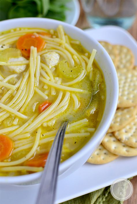 Gluten-free Homemade Chicken Noodle Soup is ready in under 30 minutes and made with fridge and pantry staples.