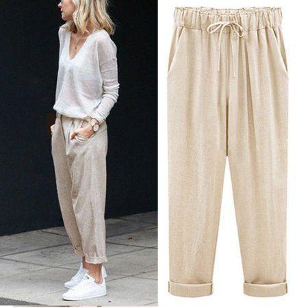 Women High Waist Harem Pants Elastic Waist Straight Stripe  Casual Loose Trouser