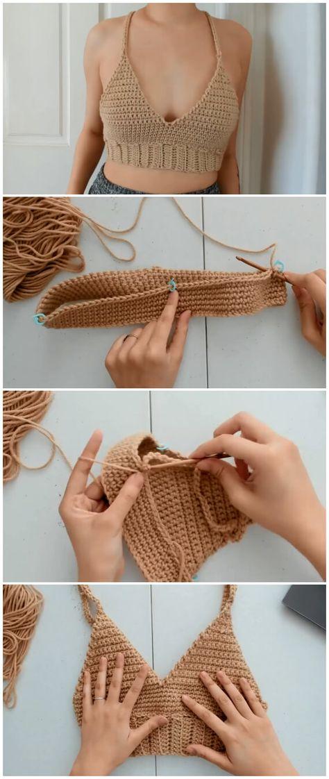 Crochet Bralette - Learn to Crochet - Crochet Kingdom Mode Crochet, Crochet Diy, Learn To Crochet, Crochet Crafts, Crochet Projects, Crochet Tops, Diy Crochet Clothes, Diy Crochet Crop Top, Crochet Top Outfit