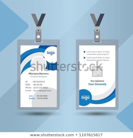Event Staff Blue Abstract Id Card Set With Lanyard Vector Design And Text Template Il Colorful Business Card Business Card Design Creative Cool Business Cards