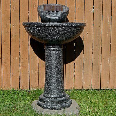Sunnydaze Decor Fiberglass Solar Modern Birdbath Water Fountain