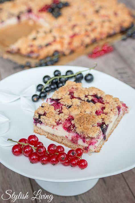 Quark Streuselkuchen Mit Johannisbeeren Und Weisser Schokolade Streusel Kuchen Quark Streuselkuchen Kuchen Und Torten
