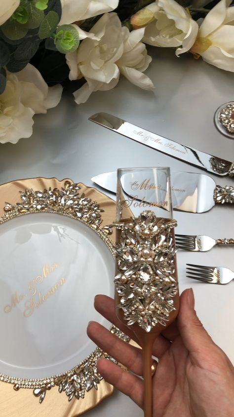 Personalized wedding glasses and cake server set plate and |