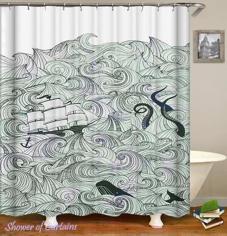 Kraken Shower Curtain The Kraken Is Coming Kraken Shower