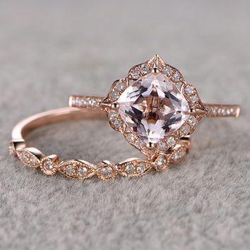 2pcs Morganite Bridal Ring Set Engagement Rose Gold Diamond Wedding Band 14k