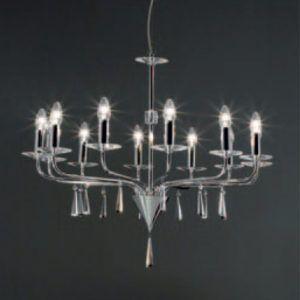 Perenz 5052 Lampadario Cromo Con Cristallo Arte Luce Lampadario Illuminazione Soffitto Candelabro