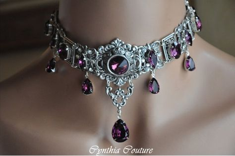 Victorian Gothic Choker,Vintage Style Choker,Swarovski Crystal Amethyst Choker,Victorian Gothic Jewelry,Gothic Jewelry,PURPLE PASSION on Etsy, $299.00