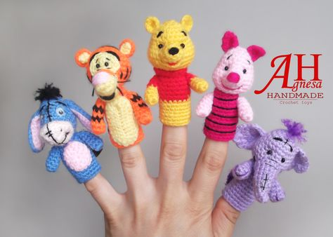 """Crochet finger puppets"""" WINNIE THE POOH AND FRIENDS"""""""