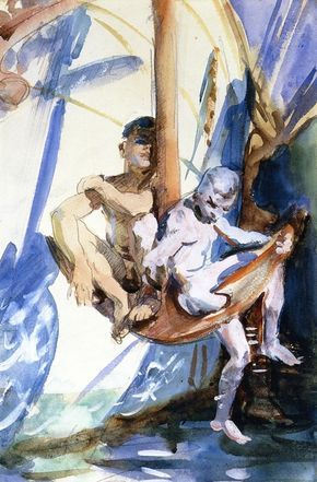 John Singer Sargent (USA, - Two Boys on an Anchor - 1908 - watercolor - Portland Museum of Art - Maine