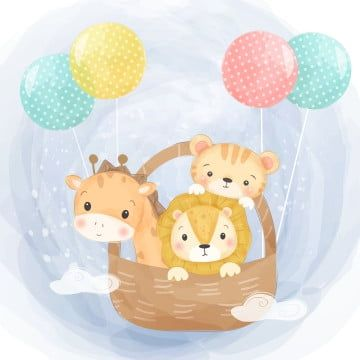 Adorable Animal Baby Shower Cartoon Character Child Children Colorful Cute Cute Animals Decal Deco Cute Animal Illustration Animal Clipart Balloon Illustration