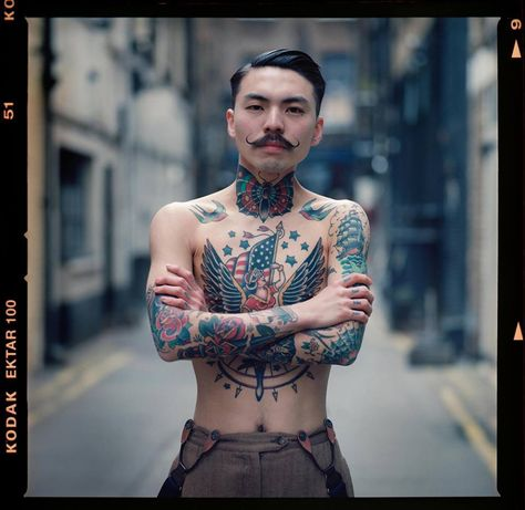 American Traditional Tattoo on Chest and Neck
