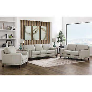 Jensen 3 Piece Leather Set Sofa Loveseat Chair Leather Sofa Set 3 Piece Living Room Set Living Room Sets