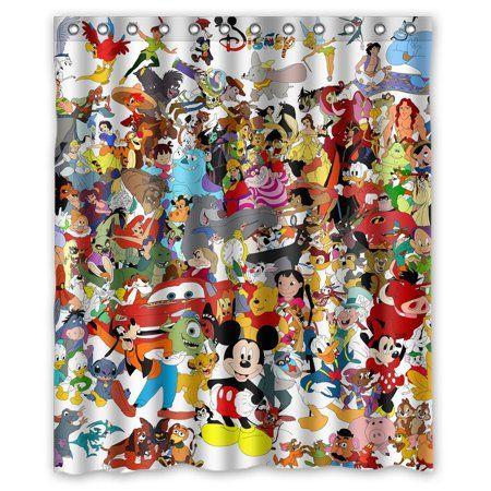 Deyou Cute Cartoon Mickey Minnie Mouse Shower Curtain Polyester