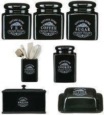 7pc Black Ceramic Vintage Bread Tea Coffee Sugar Jars