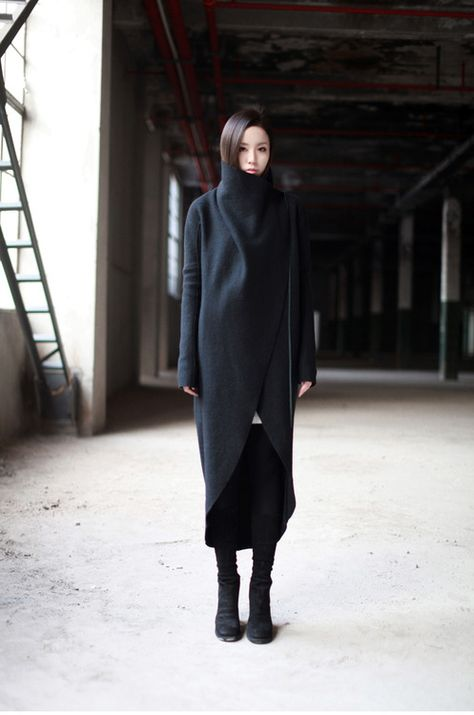 cocoon coat, black on black