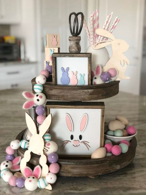 Easter Bundle Set/Rustic Easter decor/Spring decor/Tiered tray Easter decor/rae Dunn decor/Easter bunny decor/Garland/Props NOT included Cute Easter Bunny, Hoppy Easter, Easter Eggs, Easter Projects, Easter Crafts, Easter Ideas, Bunny Crafts, Easter Bunny Decorations, Easter Centerpiece