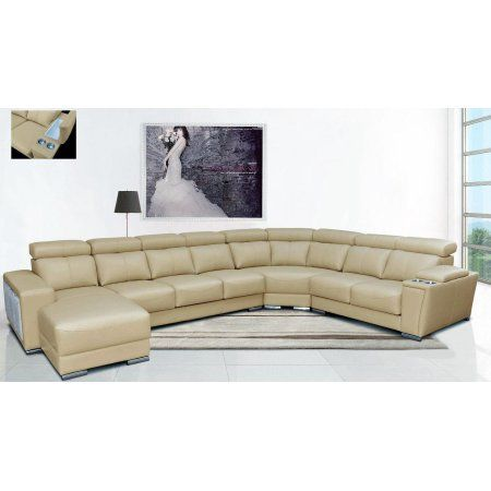 Esf 8312 Modern Beige Leather Sectional Sofa W Sliding Seats Left Hand Chase Leathersecti Reclining Sectional Comfortable Sectional Sofa Comfortable Sectional