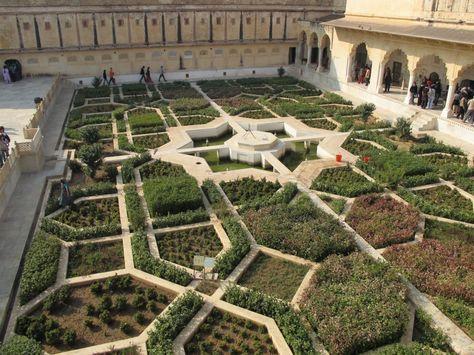 Indian Star Shaped Gardens At The Jaipur Palace