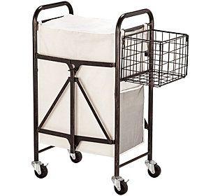 Lifetime Brands Artesa Collapsible Rolling Laundry Cart Laundry