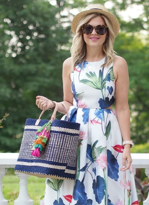 Woven Tote With Multi-Color Tassel Charms