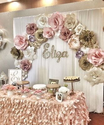 Paper Flowers Paper Flower Backdrop Wedding Decor Retirement Party Corporate Events Women S Event Fir Flower Wall Rental Girly Decor Birthday Decorations