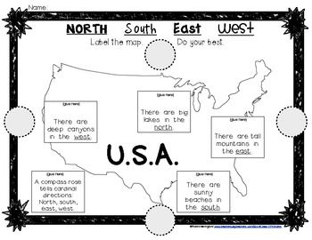 Mapping the USA: Label Cardinal Directions for Young ...