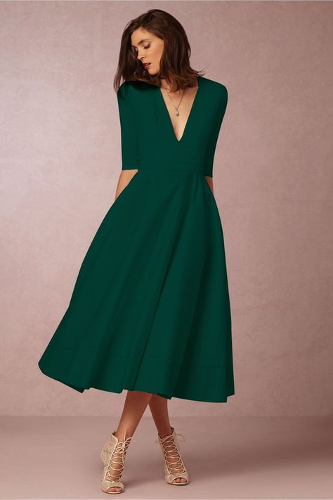 Chicloth A-line V Neck Half Sleeve Midi Party Dress(In Stock) – Women Fashion