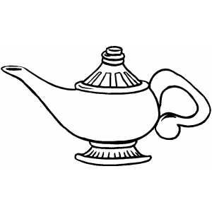 Coloring Page Water Bottle Genie Lamp Genie Bottle Aladdin Lamp