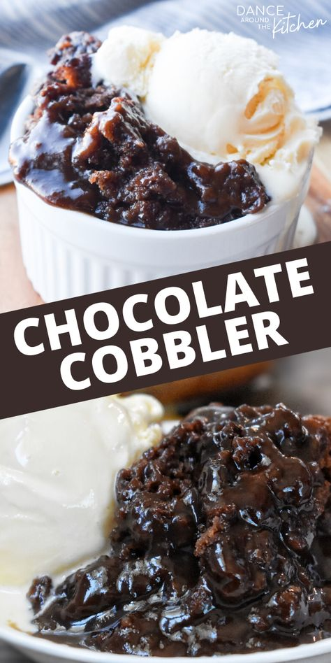 This quick dessert has a warm, fudgy pudding covered with a moist chocolate cake.  It's like a chocolate lava cake, but wayyyy easier and just as delicious!!  #Chocolate #Cobbler #LavaCake #Fudge