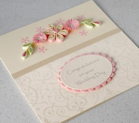 Wedding congratulations card, handmade greeting, quilled paper  A beautiful quilled wedding congratulations card with quilling flowers in lovely shades of ivory and pastel pink. An original, distinctive handmade greetings card to celebrate a very special day. A lovely spray of quilled