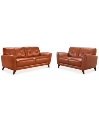 Furniture Myia 82 Leather Sofa Set Leather Sofa And Loveseat Sofa And Loveseat Set