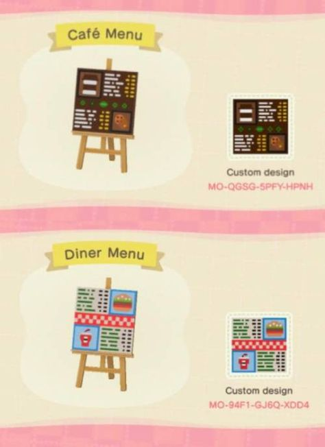 animal crossing island ideas I saw people making menus designs for restaurants they were building, so I gave it a try! I made two menus, one for a caf, and another for a diner! Animal Crossing 3ds, Animal Crossing Qr Codes Clothes, Cafe Sign, Cafe Menu, Animal Games, My Animal, Menue Design, Ac New Leaf, Motifs Animal