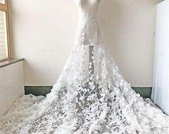 Stunning Blossom Flower Lace Fabric Chiffon Flower Lace Mesh Etsy Bridal Lace Fabric Bridal Lace White Lace Fabric