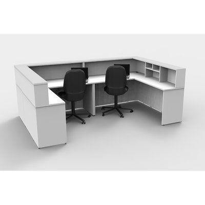 Latitude Run Lynd U Shape Reception Desk Color Espresso White Laminate Reception Desk Reception Desk Contemporary Office Space