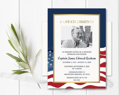 Celebration of Life Invitation Military Funeral Announcement