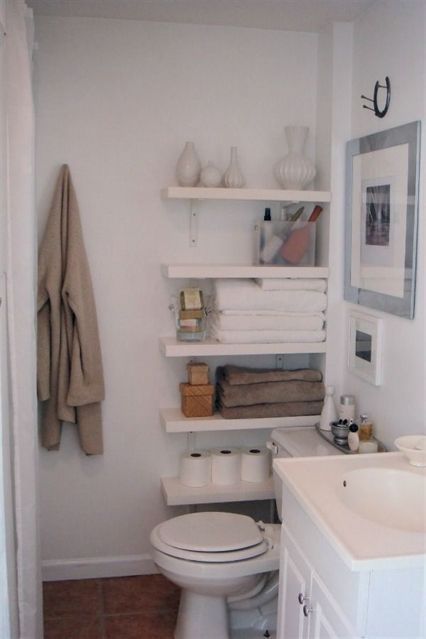 Who Says You Can T Use The Small Space By The Toilet We Love This Toilet Shelving Ide Small Apartment Bathroom Bathroom Storage Solutions Small Space Bathroom