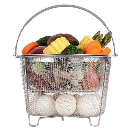 Aoizta Double Tier Stainless Steel Steamer Baskets Pasta Strainer Steamer Basket Instant Pot Pressure Cooker