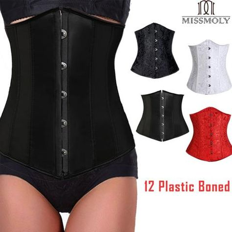 d60857c9f3839 Miss Moly Steampunk Underbust Corset Women Waist Slimming Bustier Modeling  Belt Lace Up Tummy Control Body Shaper Plus Size