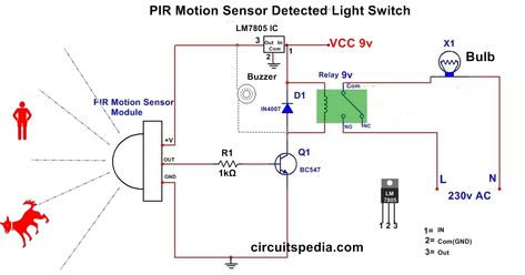 Pir Motion Sensor Circuit For Human Detection And Lighting Electronic Circuit Projects Electrical Circuit Diagram Electronic Schematics
