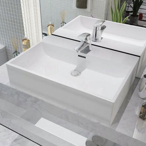 arredo Bagno mensola lavabo casa Lavabo ad Incasso Sava 55 in Ceramica Bianca di Alta qualit/à VE.CA