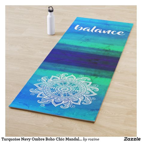 2b31f51433 Turquoise Navy Ombre Boho Chic Mandala Zen Balance Yoga Mat