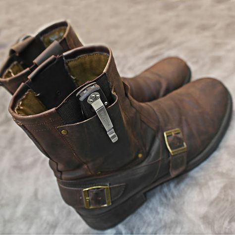 Cold Steel Knives — These boots are made for carry knives. Men's Shoes, Shoe Boots, Cold Steel, Everyday Carry, Survival Gear, Camping Survival, Tactical Gear, Leather Working, Cool Stuff