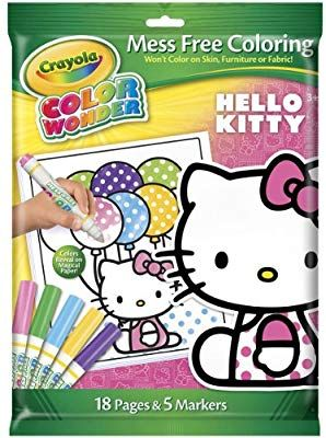Amazon Com Crayola Crayon Wonder Hello Kitty 18 Page Coloring Pad And 5 Count Marker Toys Games Christmas Coloring Books Cat Coloring Book Coloring Books