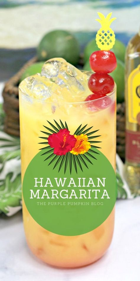 This Hawaiian Margarita cocktail is full of tropical flavours and perfect for luau party. It's a twist on a traditional margarita, made with pineapple juice and coconut water, in addition to the usual tequila, triple sec, and limes – totally delicious! Cocktail Margarita, Cocktail Drinks, Margarita Party, Pineapple Margarita, Sunrise Cocktail, Paloma Cocktail, Grapefruit Cocktail, Vodka Cocktails, Triple Sec Cocktails